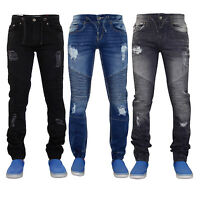 Mens True Face Ripped Style Cuffed Slim Biker Stretch Cotton Denim Jeans