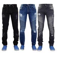 Men Ripped Jeans Slim Fit Skinny Stretch Cuffed Cotton Denim Trouser Biker Pants