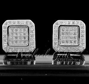 NEW! $99 14k White Gold gp iced CUSTOM Out line Simulate Diamond HIPHOP Earrings