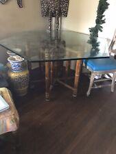 Vintage John McGuire Hexagon Dining Table Bamboo Mid Century Modern
