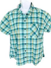 Women's M L.L. Bean Nylon Traverse S/S Shirt Camping Hiking Green Plaid Buttons