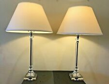 Vintage Pair Lucite Table Lamps w/ Off-White Shades and Lucite Finials