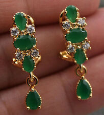18K Yellow Gold Filled - Flower Teardrop Emerald Jade Topaz Gems Party Earrings