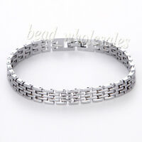 Men's Punk Stainless Steel Silver Chain Wristband Clasp Cuff Bangle Bracelet