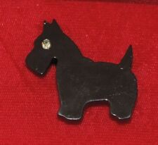Vintage Black Plastic Scottie Dog Scottish Skye Cairn Terrier Brooch Pin 10a 19