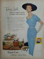 1954 Pepsi Cola soda today's fashion look slim blue dress hat vintage ad