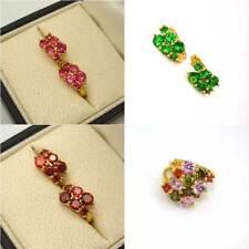 18k Yellow Gold Filled Earrings Multi-Color gem CZ Women Hoop GF Wedding Jewelry