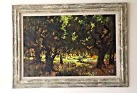 Vintage California artist Oil Painting on Masonite Signed Leona Lee,