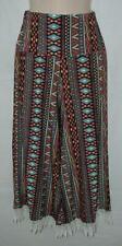 Girls Small / Medium Stretchy Jersey Knit Lace Hem Elastic Waist Wide Leg Pants