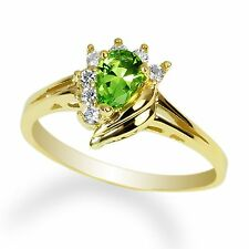 Ladies 10K Yellow Gold Solid Solitaire Ring Peridot (green) colored Cz