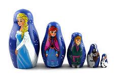 Frozen Elsa Elza Matryoshka Russian Nesting Dolls Babuska Babushka Wooden 5 Pcs