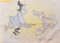 Warner Brothers Witch Hazel & Bugs Bunny Original Drawing Signed by Kirk Mueller