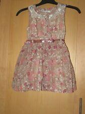 GIRLS AGE 3 YEARS PINK/BROWN FLOWER DRESS & GLITTERY BELT