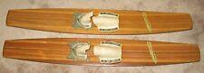 """Rare Vtg 1950-60 Cascade Great Wooden Water Skis Aluminum framed bindings 50"""""""