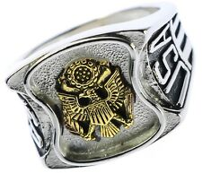 US Army Mens Ring Bold Polished Stainless Steel Size 10