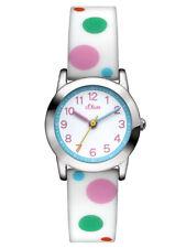 s.Oliver Mädchen Kinder Silikon Armbanduhr bunte Kreise Punkte SO-2897-PQ