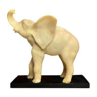 Vintage Large Italian Lucky Elephant White Resin Statue on Black Lacquer Base