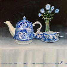 Tea-Time. David Laurence original Oil on Canvas Board 8 x 8 ins