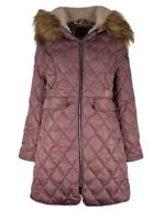 Jessica Simpson Women's XL Faux Fur Hood Lined Diamind Puffer Jacket Dusty Pink