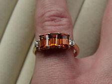 Rare Ceylon Cinnamon Garnet Trilogy & Zircon 10K Yellow Gold Ring Size P-Q/8