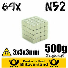 64x Neodym Magnet Würfel 3x3x3mm N52 - magnetisch neodymium starke Minimagnete