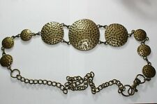 Medallion Metal Belt Chain Link Circle Brass Tone Boho Gypsy