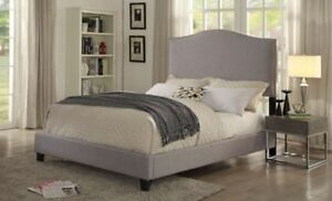 KING Upholstered Linen Nailhead Bed - Gray - NEW!
