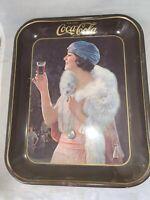 Vintage 1973 DRINK COCA COLA Metal Advertising Tray, FLAPPER GIRL Fox Stole
