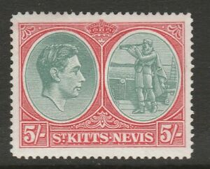 St Kitts-Nevis 1938-50 George VI 5/- Grey-green and scarlet SG 77a Mint.