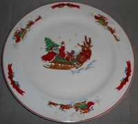 MACY'S The Cellar SANTA SLEIGH PATTERN Chop Plate or Platter HOLIDAY - CHRISTMAS