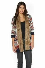 Be You Aztec Print Faux Fur Trim Cardigan Multi Size UK 20 rrp £65 DH089 EE 01
