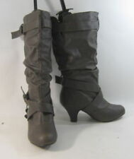 Unbranded High (3 in. and Up) Leather Cuban Heel Boots for Women