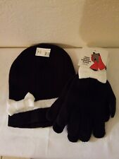 Girls Black Beanie Knit Hat/Cap With White Bow And Matching Gloves (One Size)