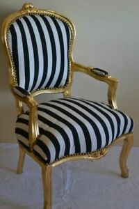 LOUIS XV ARM CHAIR FRENCH STYLE CHAIR VINTAGE WHITE AND BLACK GOLD WOOD