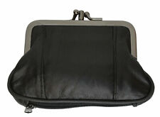 Black Genuine Leather Woman's double frame Large coin purse Change 2 Clasp