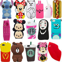 3D Cute Animals Cartoon Soft Silicone Case Cover Back Skin For iPhone Various