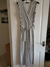 New Look Cameo Rose Size 14 Black White Vertical Stripe Wrap Front Jumpsuit