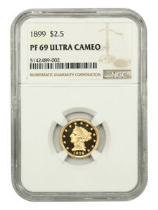 1899 2 1/2 NGC PR 69 UCAM - Finest Known! - 2.50 Liberty Gold Coin