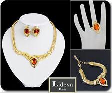 Set Statement Kette Armband Ohrringe Ring Schmuckset Halskette Vergoldet Amber