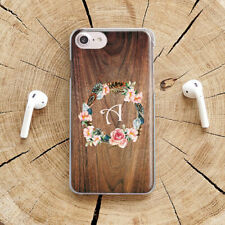 Wooden iPhone 7 8 Plus Cover Monogram iPhone X Case Flowers iPhone 11 XR XS Max