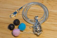 Essential Oil Diffuser Aromatherapy Necklace Silver Teardrop Pendant with Chain