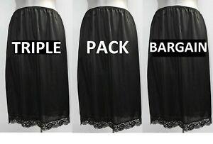 "3 x (triple pack) LADIES half slip waist petticoat BLACK, lace hem NEW 23"" long"