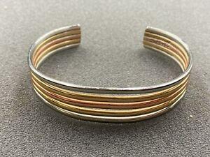 """6.5"""" Vintage Sergio Lub California Asymmetrical 5 Tone Cuff Bracelet"""