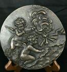 Beautiful Forde Crafts Hand Cast Stone Bronzed Cherub Roundel Plaque - Ireland