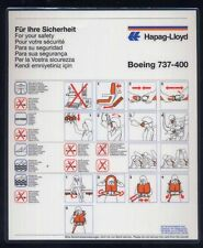 Hapag Lloyd German AIRLINES B 737 - 400 Airline SAFETY CARD air brochure ee e474
