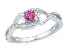 10k White Gold Womens Lab Pink Sapphire Diamond Heart Ring 1/20 Cttw