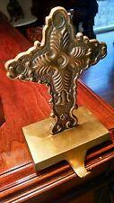 Religious Cross Mantle Hook Vintage Bronze Christianity Larg Brass Rosary Hanger