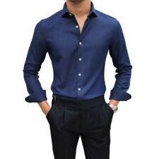 Men's Western style Classic Shirt Button Front Business Formal Dress Plain New L