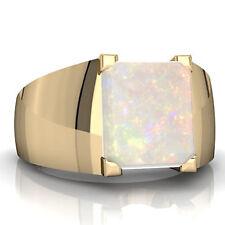 925 Sterling Silver Natural Ethiopian Opal Gem Stone Men's Ring