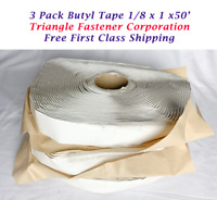 Butyl Tape 3 Pack 1/8 x 1 x 50' Triangle Fastener Corp. Metal Building Sealant